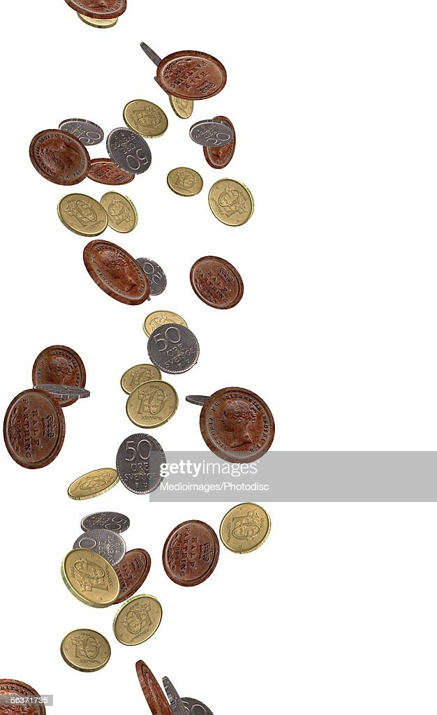 Close-up of falling coins : Stock Illustration