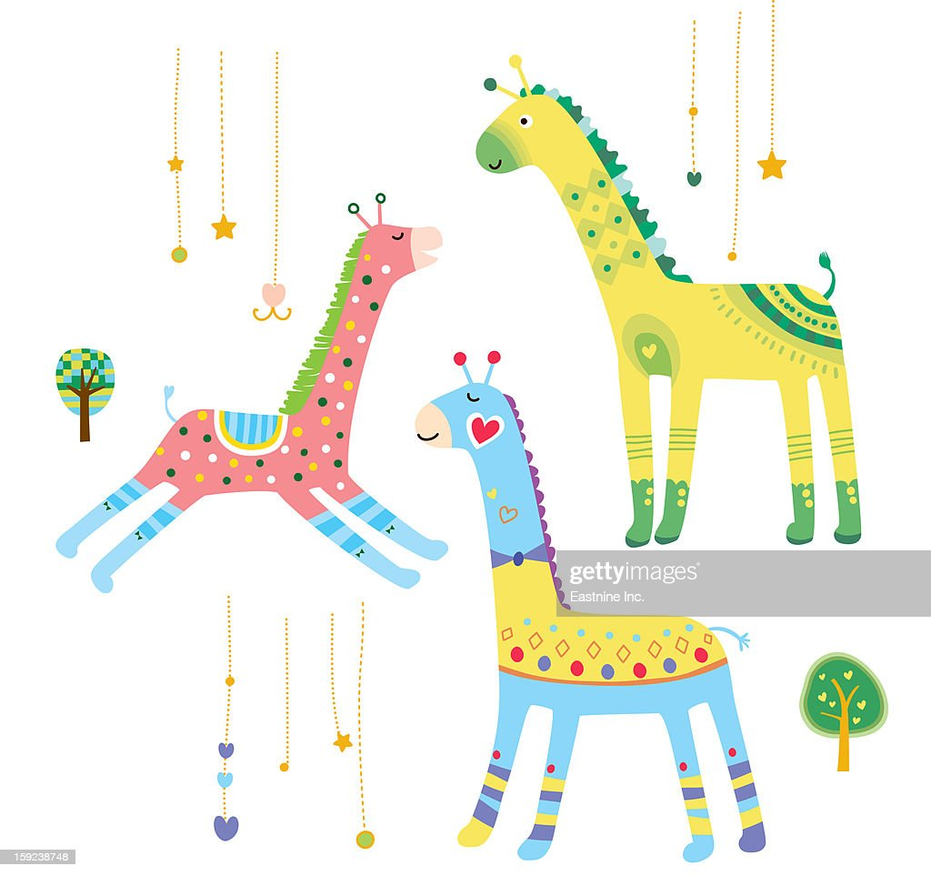 Close-up of giraffes : Stock Illustration