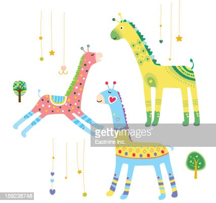Close-up of giraffes : Stock Illustration