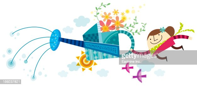 Close-up of girls holding watering can : Stock Illustration