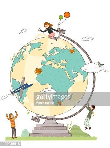Close-up of Globe : Stock Illustration