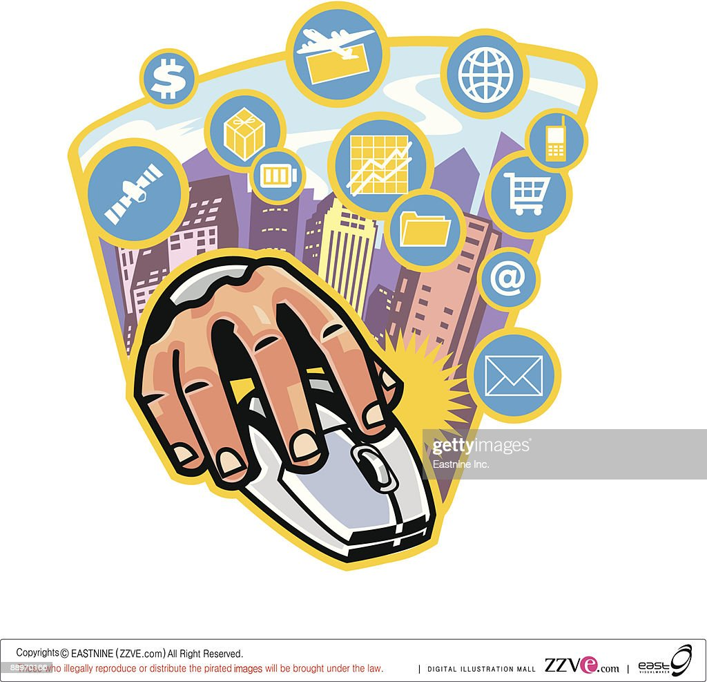 Close-up of hand on computer mouse : Vector Art