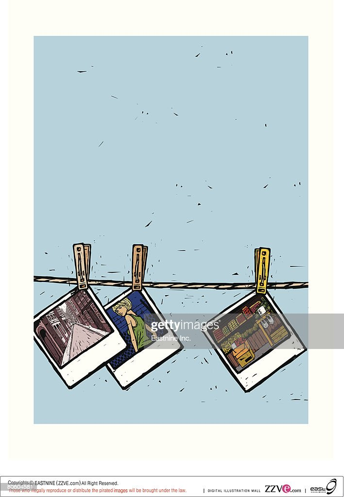 Close-up of negatives hanging on a clothesline : Vector Art