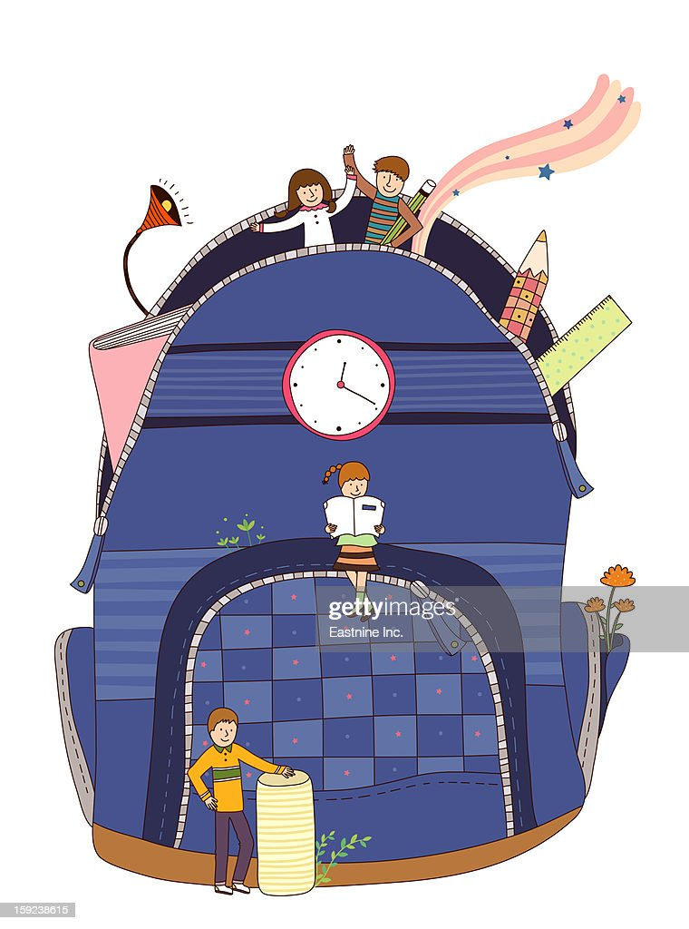 Close-up of school bag : Stock Illustration