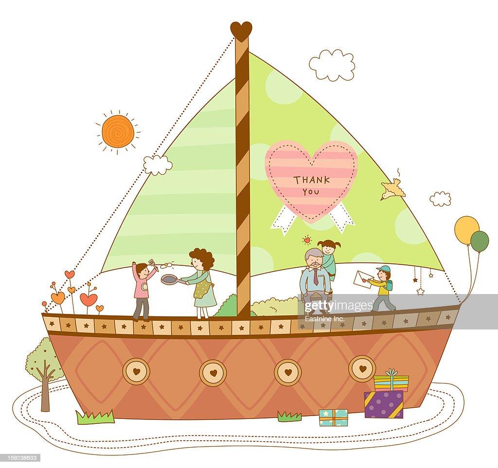 Close-up of ship : Stock Illustration