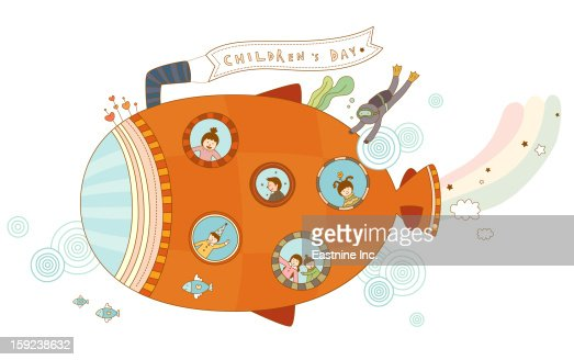 Close-up of submarine : Stock Illustration