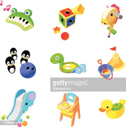Close-up of various toys : Vector Art