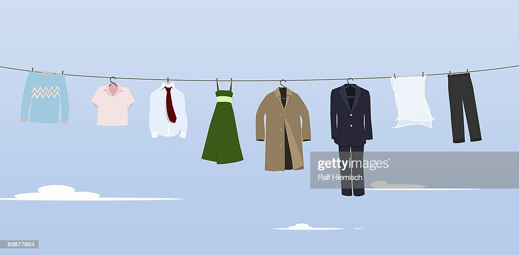 Clothes hanging on a washing line : Stock Illustration