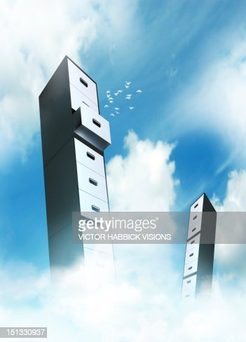 Cloud computing, conceptual artwork : Ilustración de stock