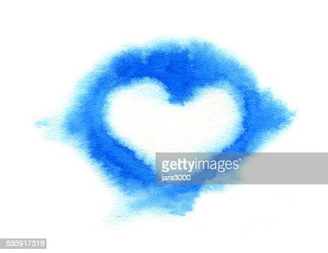 Cloud corazón. Watercolor ilustración : Ilustración de stock