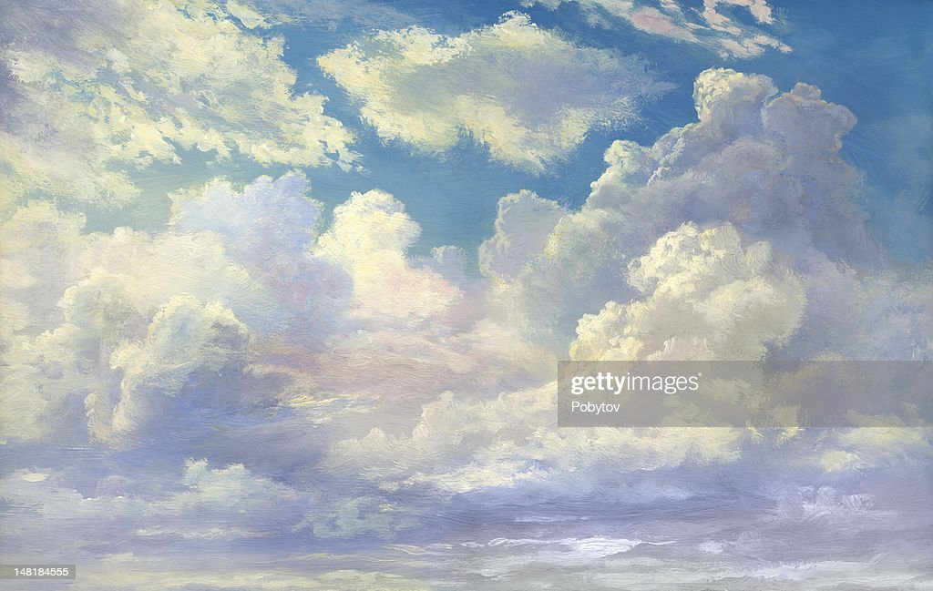 Paisagem com nuvens : Stock Illustration