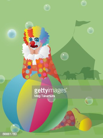 Clown leaning on the beach ball : Stock Illustration