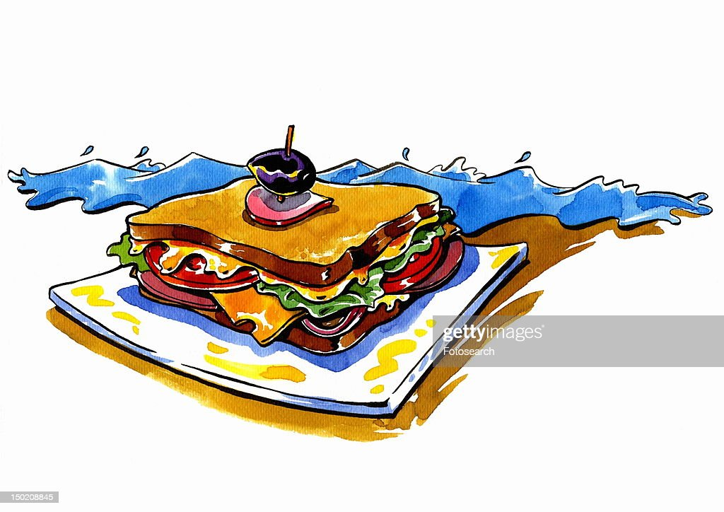 Club sandwich by the sea : Stock Illustration