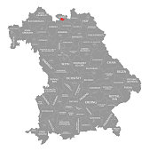 Coburg city red highlighted in map of Bavaria Germany