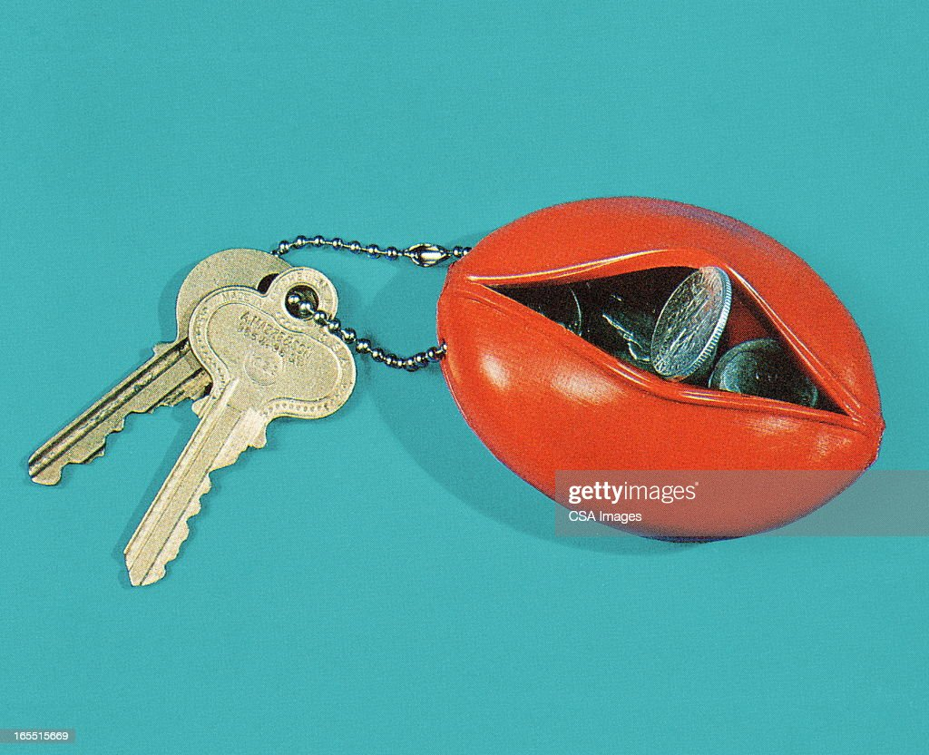 Coin Pouch Keychain and Keys : Stock Illustration