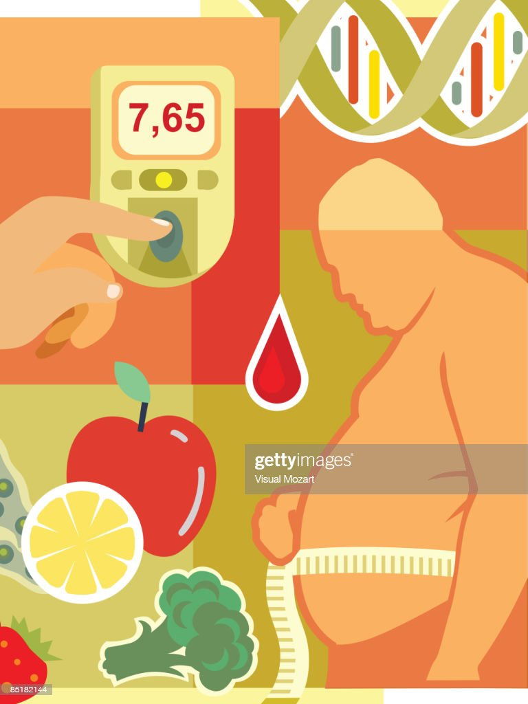Collage of an overweight man measuring waist, fresh fruit and vegetables, a drop of blood, a blood glucose monitor, and DNA : Vector Art