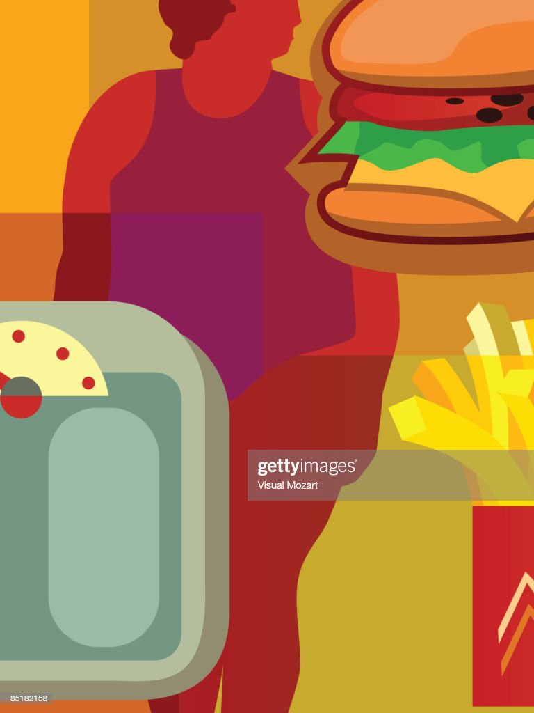 Collage of an overweight person, a hamburger, french fries and a scale : Vector Art