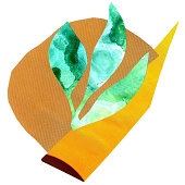 Hand drawn abstract composition of a modern art style. Raster illustration with minimalist style. Collage of pasted paper like a tropical leaf.