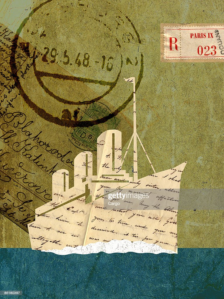 Collage with a cruise ship, vintage letters and stamps : Stock Illustration