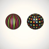 Collection of abstract spheres made from colorful stripes. vector illustration