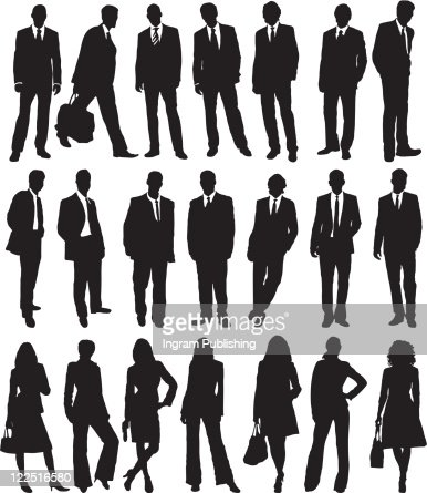 collection of business people in silhouette in different poses : Vector Art