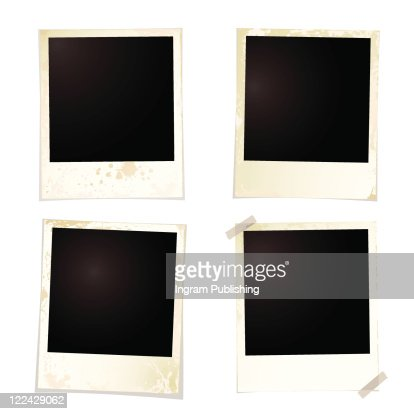 collection of four blank polaroid images with grunge effect : Vector Art