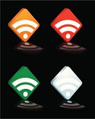 collection of four different coloured rss 3d logo