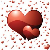 collection of hearts in red that would make an ideal valentines day background