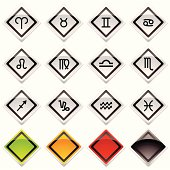 collection of horoscope symbols with colour variation and shadow
