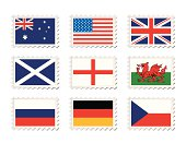 Collection of nine stamp with country flag on them
