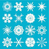 collection of snowflake in white on a blue background with sixteen variations