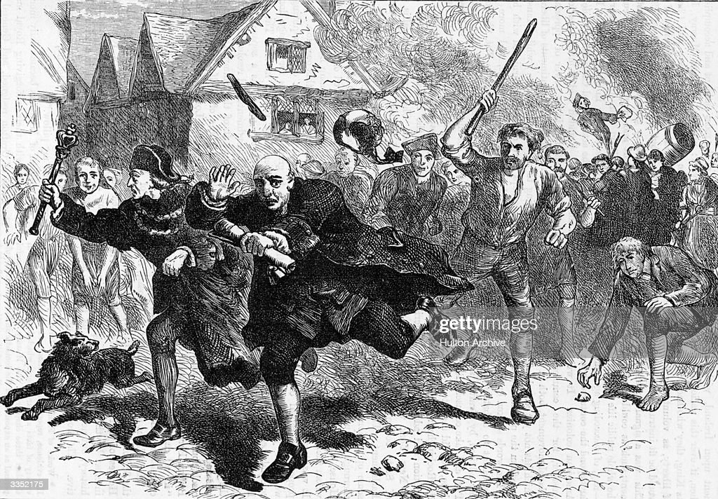 Colonial governor Thomas Hutchinson escaping from local rioters after demanding Stamp Tax from them It was his refusal to return the British tea...
