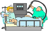 This illustration depicts an apprehensive patient in bed with a smiling doctor holding a huge probe and tube in the back.