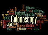 Colonoscopy, word cloud concept on black background.