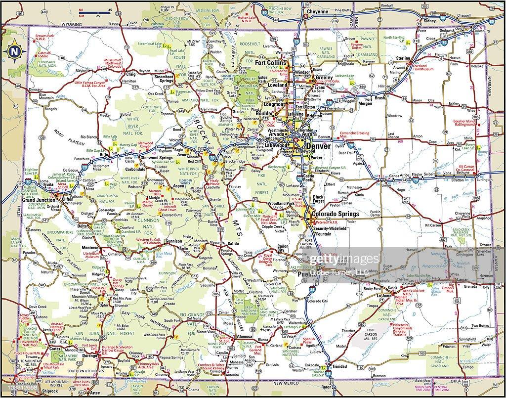 Colorado Highway Map Vector Art Getty Images - Highway map of colorado