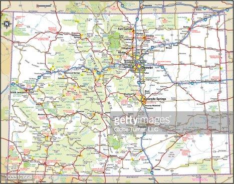 Colorado Highway Map Vector Art Getty Images - Colorado highways map