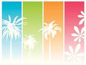 Colorful abstract background with hot summer colors and palms trees