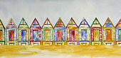 Colorfully painted retro style wooden beach shacks in a row on sand at the beach. Pen and Wash Painting by Judi Parkinson. Original artwork on hot press watercolor paper.