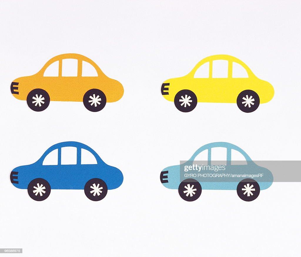 Colorful cars, illustration, white background : Stock Illustration