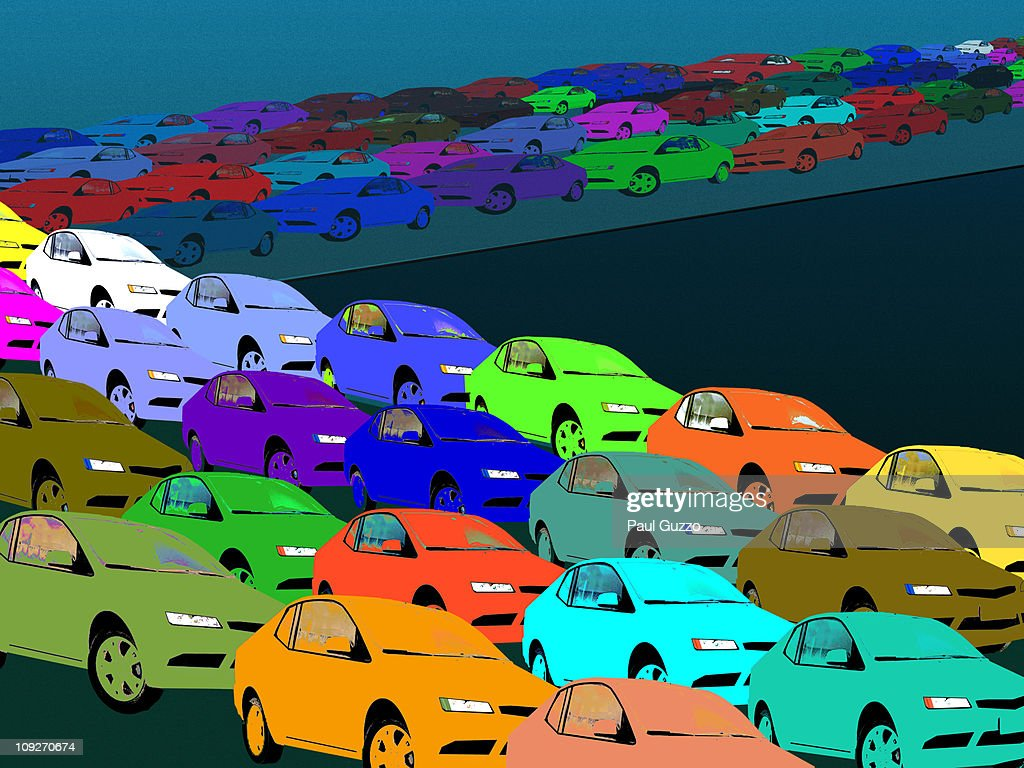 Colorful cars in a traffic jam : Stock Illustration