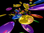 Colorful circles, computer graphic, black background