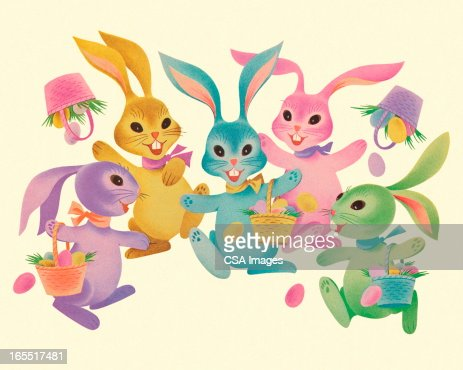 Colorful Easter Rabbits : Stock Illustration