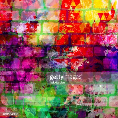 Bunte grunge-Wand mit Kunstwerken illustration : Stock-Illustration