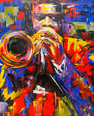 Illustration of a colorful jazz trumpet player