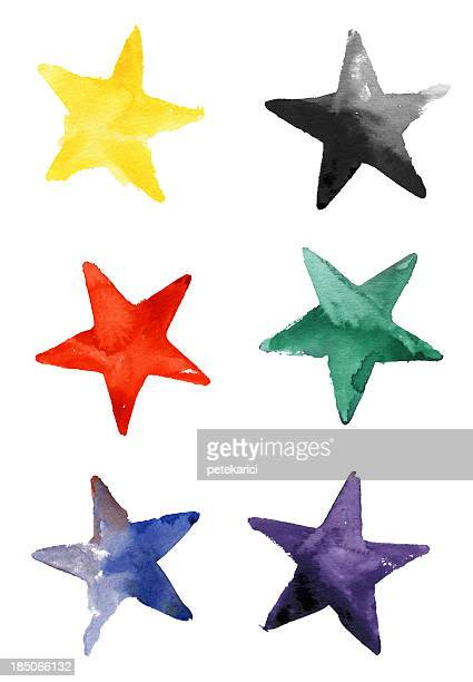 Colorful Stars Watercolor on Paper (Clipping Path)