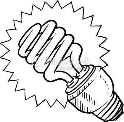 Desenho Lâmpada Fluorescente Compacta Luz arte vetorial