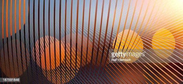 A complex arrangement of lines and orange spheres