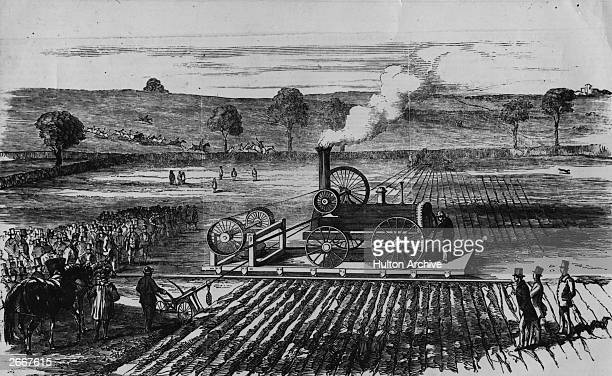A complex steam driven mechanical plough is tested on the estate of Lord Willoughby D'Evesby near Grimthorpe
