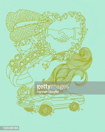 Composite of various romance and love related images : Stock Illustration