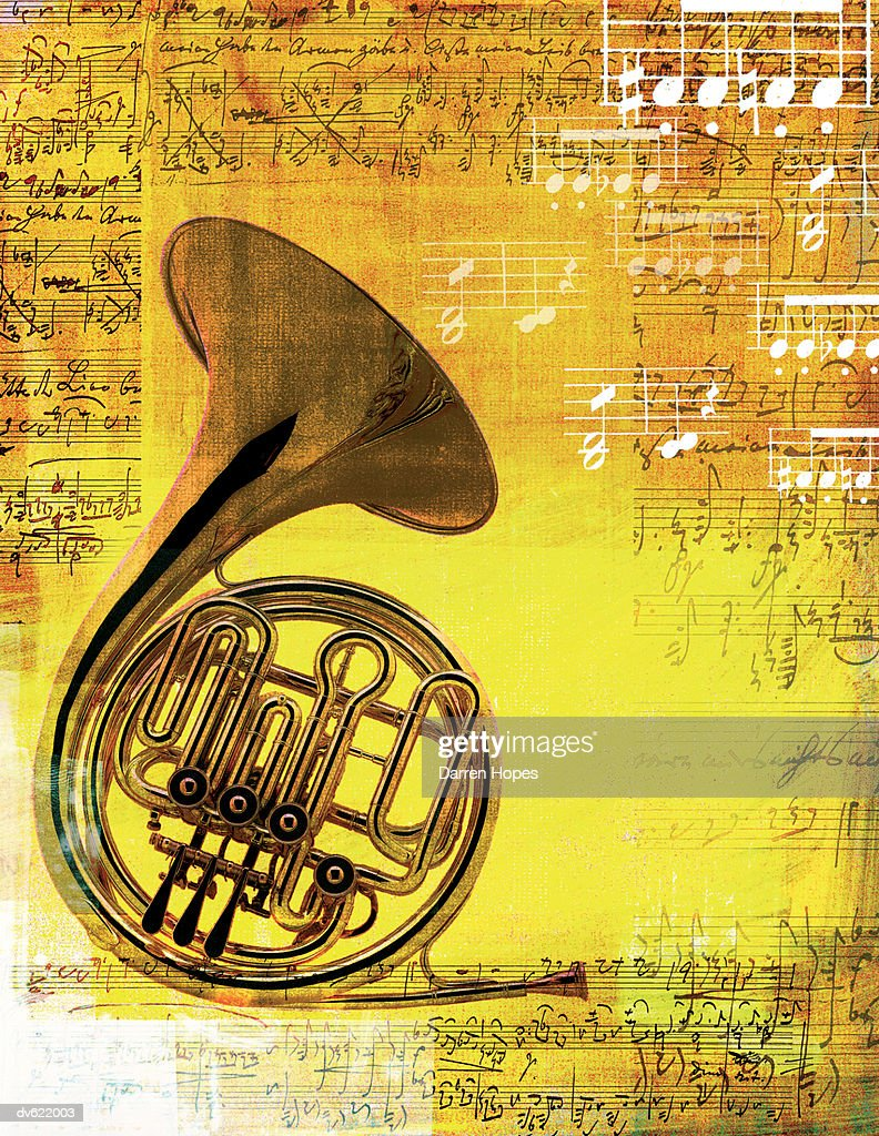 Composite with French Horn : Stock Illustration